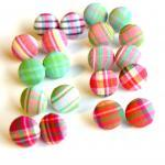 Plaid Fabric Button Earrings Set - ..