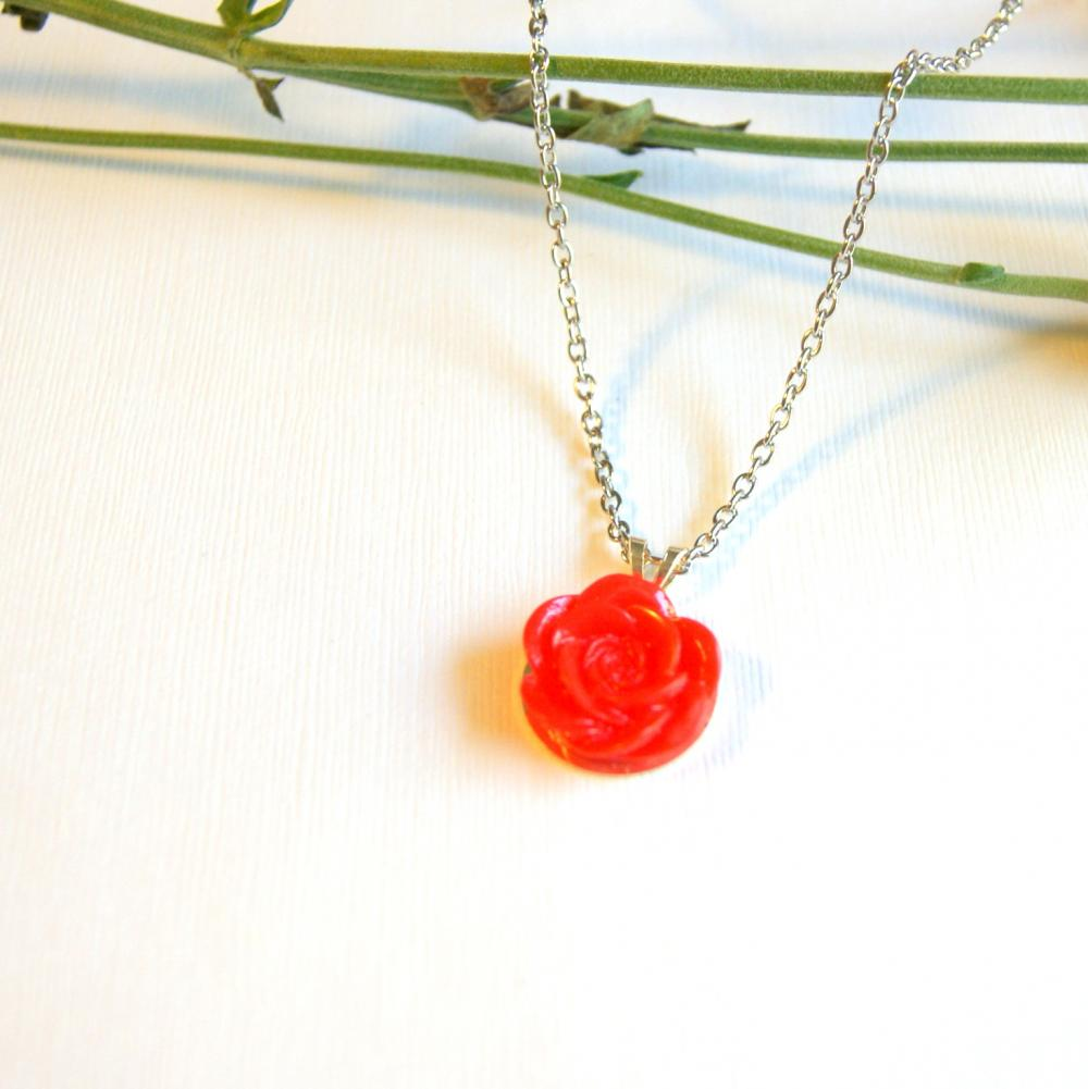 Red Flower Pendant Necklace - More Colors Available