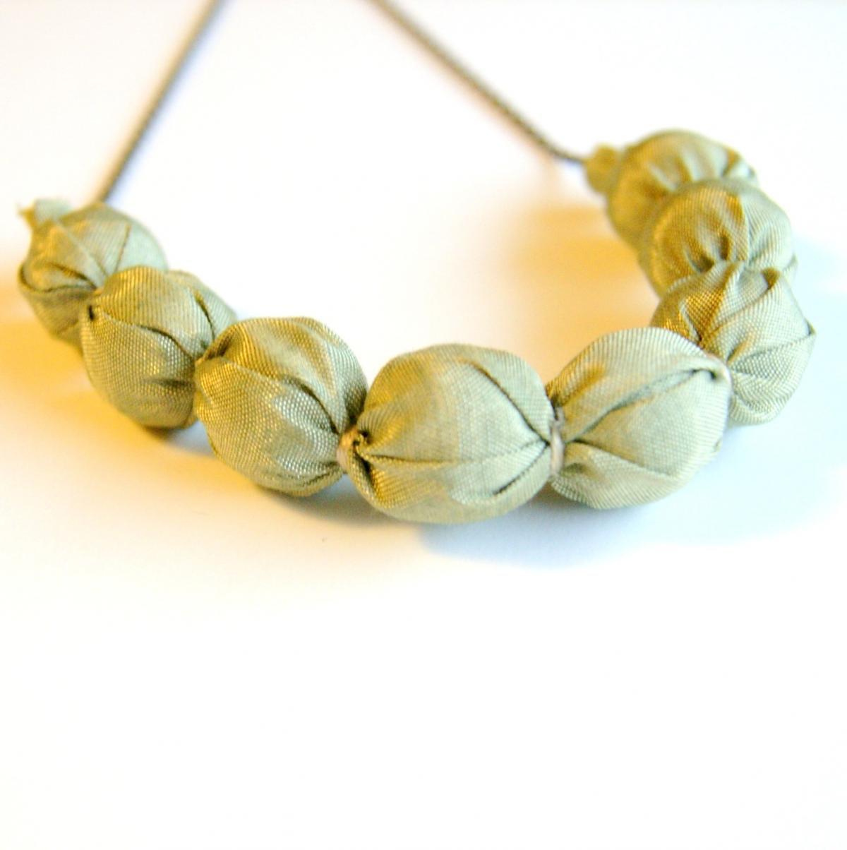 Versatile Golden Tan Fabric Necklace - Sale