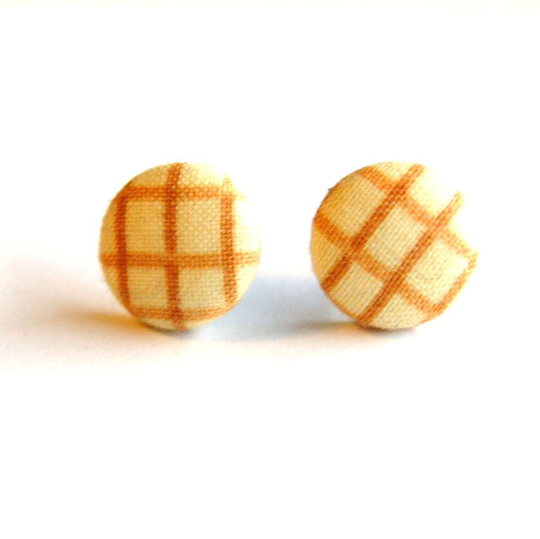 Tan Stripe Fabric Button Earrings