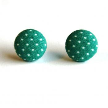 Green and White Polka Dot Earrings