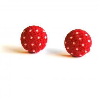 Red and White Polka Dot Button Studs