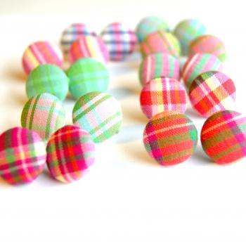 Plaid Fabric Button Earrings Set - Pick Your Pairs (3)