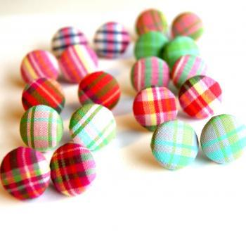 Plaid Fabric Covered Button Earrings - Set of Six