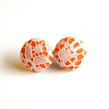 Orange and Ivory Lace Fabric Button Earrings