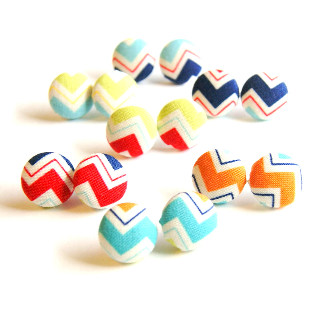 Chevron On Covered Stud Earrings Set Make Your Own